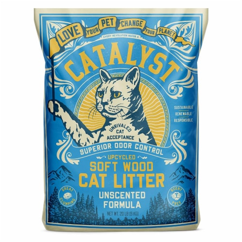 Catalyst Upcycled Soft Wood Cat Litter Odor Control Unscented Formula, 20 Pounds Perspective: front