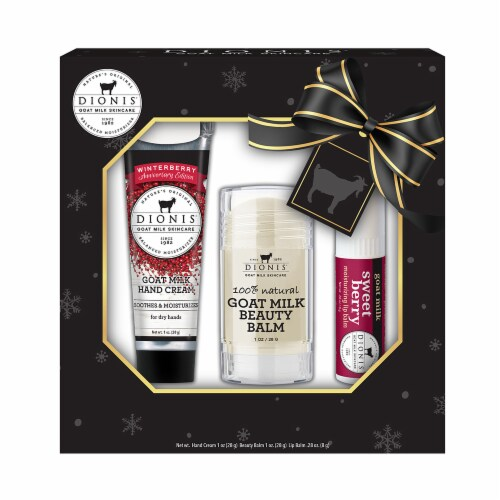 Dionis Goat Milk Winterberry Skincare and Lip Care Set Perspective: front
