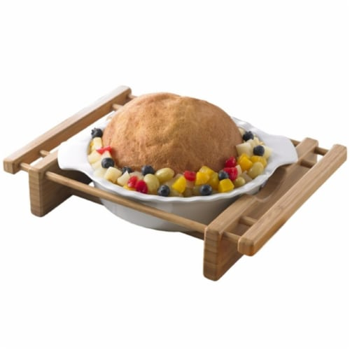 EVCO International Grand Buffet 10 in. Pie Pan Bakeware Dish with Bamboo Cradle Perspective: front
