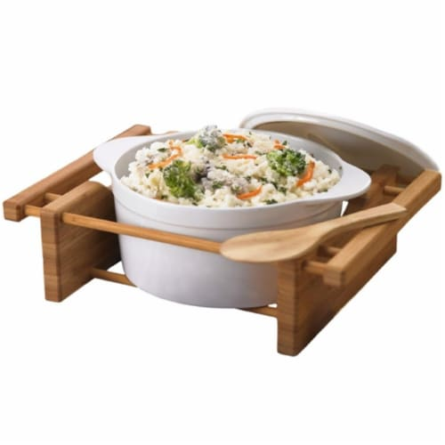 EVCO International 73459 BAMBOO & STONEWARE Grand Buffet 2.5qt Cvrd Casserole Bakeware Dish Perspective: front