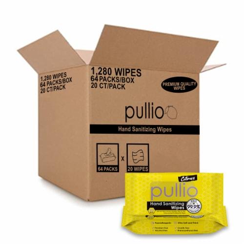 (64PK) pullio - Citrus Antibacterial Hypoallergenic Hand Sanitizer Wipes - 20ct, 1280 Wipes Perspective: front
