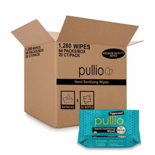 (64PK)pullio - Peppermint Antibacterial Hypoallergenic Hand Sanitizer Wipes_20ct, 1280 Wipes Perspective: front