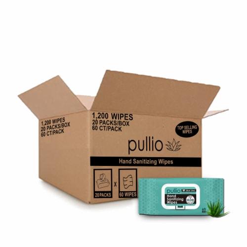 (20PK) pullio - Aloe Antibacterial Hypoallergenic Hand Sanitizer Wipes - 60ct, 1200 Wipes Perspective: front