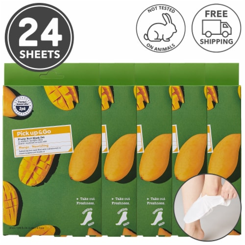 Pick Up & Go 24 Sheets Nourishing Mango Foot Mask Perspective: front