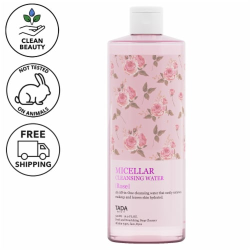 TADA All-in-One Rose Micellar Cleansing Water, 16.9 Fl. Oz. Perspective: front