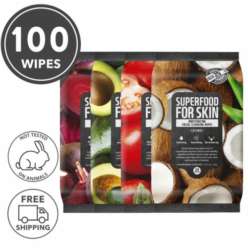FARMSKIN 4 Packs Assorted Set Facial Cleansing Wipes (Superfood) Perspective: front