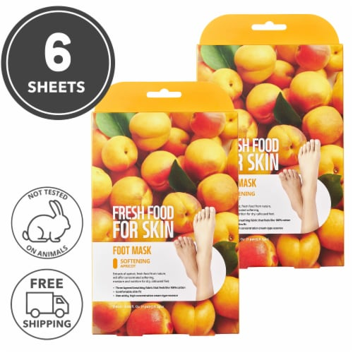 FARMSKIN 6 Sheets Softening Apricot Foot Masks (Freshfood) Perspective: front