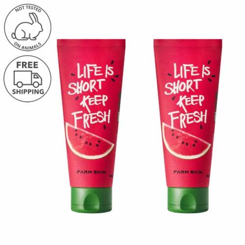 FARMSKIN 2 Packs Watermelon Moisturizing Aqua Facial Gel Cream (Freshfood) Perspective: front