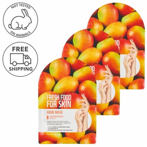 FARMSKIN 3 Sheets Nourishing Mango Hand Masks (Freshfood) Perspective: front