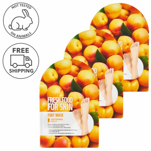 FARMSKIN 3 Sheets Softening Apricot Foot Masks (Freshfood) Perspective: front