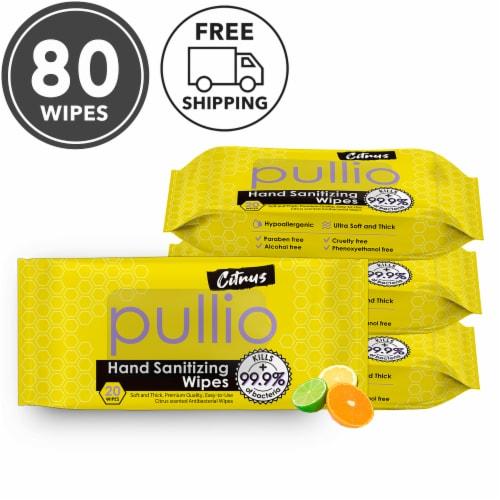 (4PK) pullio - Citrus Antibacterial Hypoallergenic Hand Sanitizer Wipes - 20ct, 80 Wipes Perspective: front