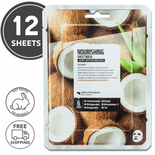 FARMSKIN 12 Sheets Nourishing Coconut Facial Sheet Masks (Superfood) Perspective: front