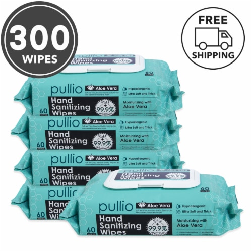 pullio 5PK Hypoallergenic Hand Wipes - Aloe Alcohol Free Hand Sanitizer(300 Wet Wipes) Perspective: front