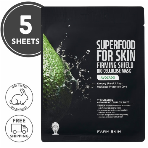FARMSKIN 5 Sheets Firming Shield Avocado Bio Cellulose Masks Perspective: front