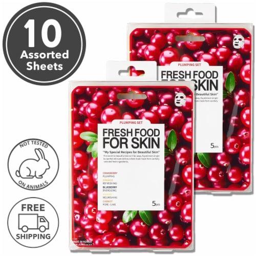 FARMSKIN 10 Sheets Plumping Set Facial Sheet Masks (Freshfood) Perspective: front