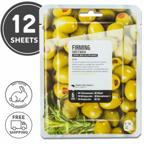 FARMSKIN 12 Sheets Firming Olive Facial Sheet Masks (Superfood) Perspective: front