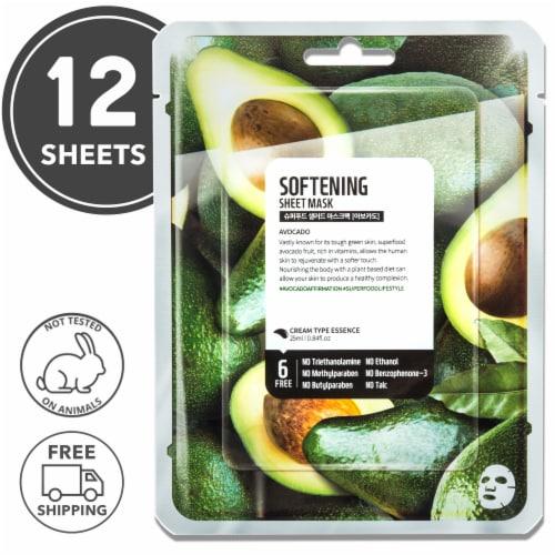 FARMSKIN 12 Sheets Softening Avocado Facial Sheet Masks (Superfood) Perspective: front