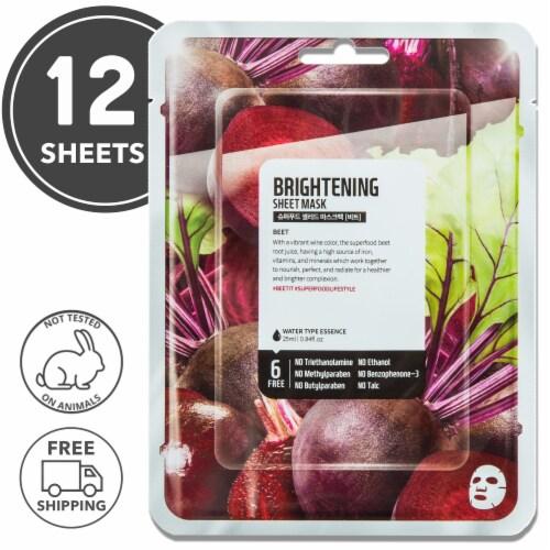 FARMSKIN 12 Sheets Brightening Beet Facial Sheet Masks (Superfood) Perspective: front