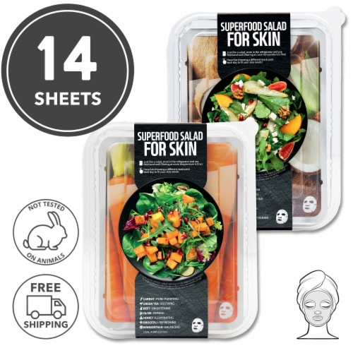 FARMSKIN 14 Sheets [Carrot+Coconut] Facial Sheet Mask Sets (Superfood) Perspective: front