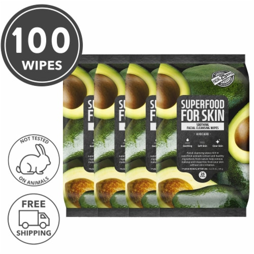 FARMSKIN 4 Packs Soothing Avocado Facial Cleansing Wipes (Superfood) Perspective: front