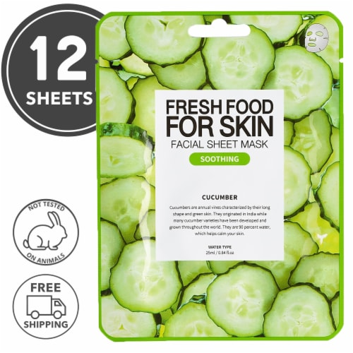 FARMSKIN 12 Counts Soothing Cucumber Facial Sheet Masks (Freshfood) Perspective: front