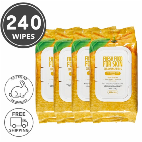 FARMSKIN 4 Packs Orange Cleansing Wipes For Normal Skin (Freshfood) Perspective: front