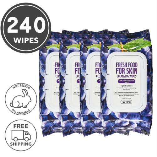 FARMSKIN 4 Packs Grape Cleansing Wipes For Sensitive Skin (Freshfood) Perspective: front