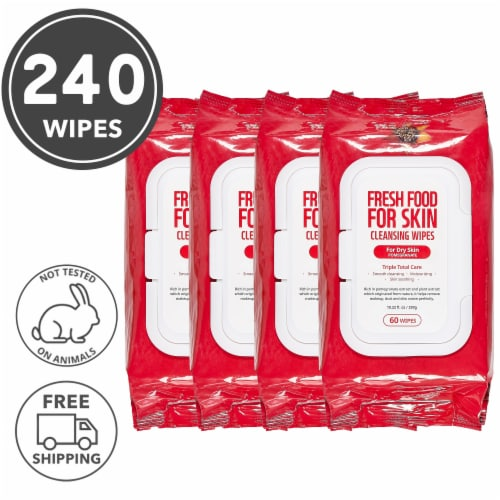 FARMSKIN 4 Packs Pomegranate Cleansing Wipes For Dry Skin (Freshfood) Perspective: front