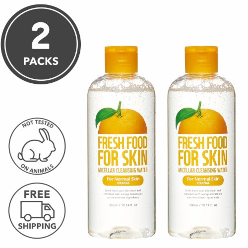 FARMSKIN 2 Packs Orange Micellar Face Cleansing Water for Normal Skin (Freshfood) Perspective: front