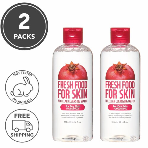 FARMSKIN 2 Packs Pomegranate Micellar Face Cleansing Water for Dry Skin (Freshfood) Perspective: front