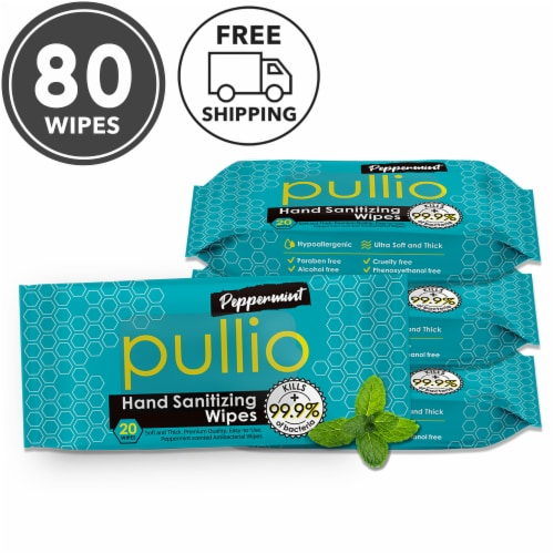 (80 Wipes) pullio - Peppermint Alcohol Free Antibacterial Hand Sanitizer Wet Wipes Perspective: front