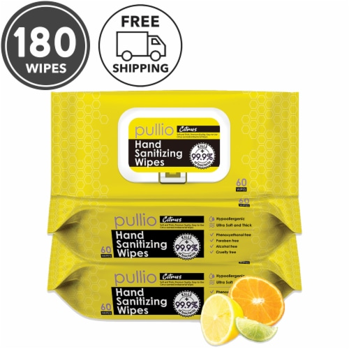 pullio - 3 Packs of Hand Sanitizer Citrus Wet Wipes 60ct - Antibacterial Hand  Wipes Perspective: front