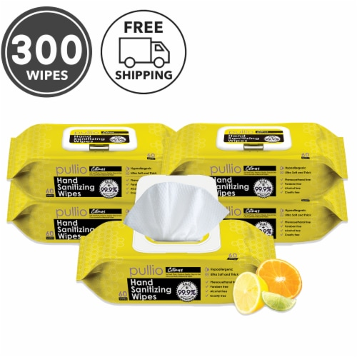 pullio - 5 Packs of Hand Sanitizer Citrus Wet Wipes 60ct -Antibacterial Hand  Wipes Perspective: front