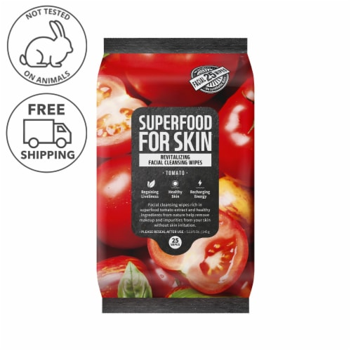 FARMSKIN Revitalizing Tomato Facial Cleansing Wipes (Superfood) Perspective: front