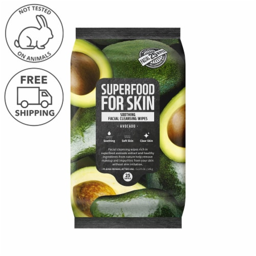 FARMSKIN Soothing Avocado Facial Cleansing Wipes (Superfood) Perspective: front