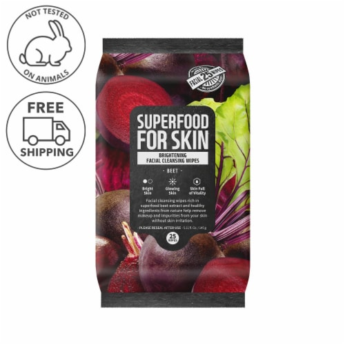 FARMSKIN Brightening Beet Facial Cleansing Wipes (Superfood) Perspective: front