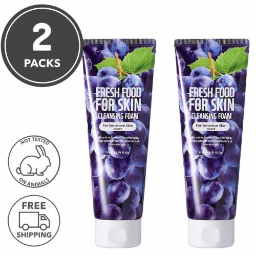 FARMSKIN 2 Packs Grape Facial Cleansing Foam For Sensitive Skin (Freshfood) Perspective: front