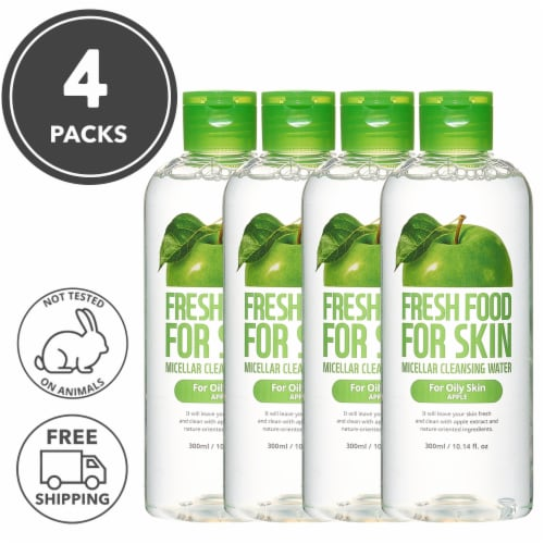 FARMSKIN 4 Set Apple Cleansing Water For Oily Skin (Freshfood) Perspective: front