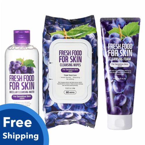 FARMSKIN Triple Grape Cleansing Set for Sensitive Skin (Freshfood) Perspective: front