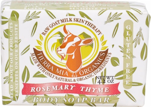 Tierra Mia Organics  Raw Goat Milk Skin Therapy Body Soap Bar Rosemary Thyme Perspective: front