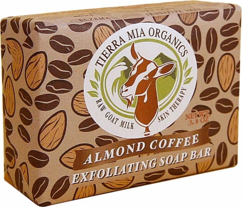 Tierra Mia Organics Exfoliating Soap Bar Almond Coffee Perspective: front