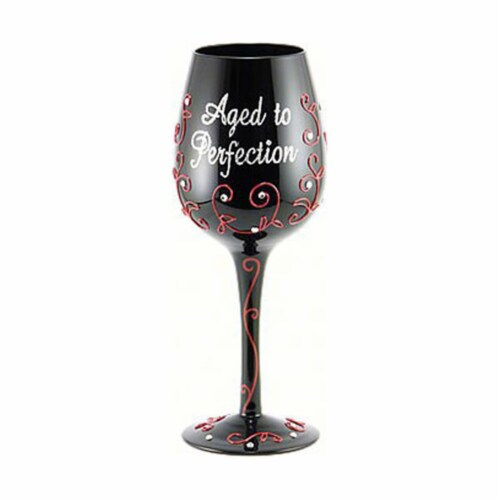 Bottoms Up by 95 & Sunny WGAGEDTOPERFECT 9 in. 15 oz Wine Glass Aged to Perfection Decor Perspective: front