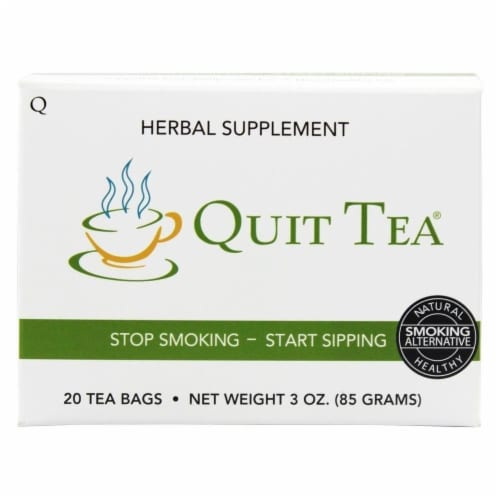 Quit Tea Stop Smoking Aid Tea Bags 20ct Natural Healthy Herbal Supplement Holistic Perspective: front