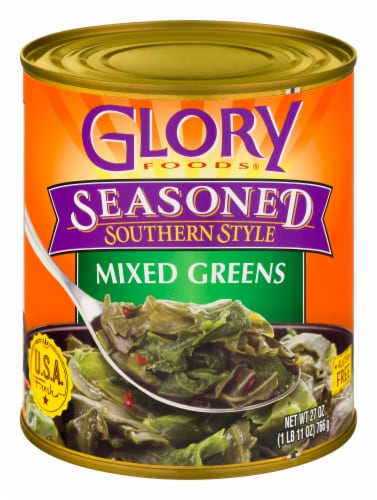 Glory Foods Seasoned Southern Style Mixed Greens Perspective: front