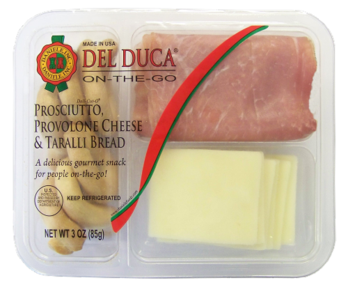 Del Duca Prosciutto Provolone Cheese and Taralli Bread Perspective: front