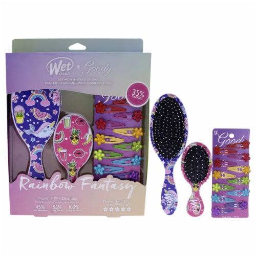Wet Brush Rainbow Fantasy Goody Kit 1 Mini Detangler, 1 Original Detangler, 12x Flower Snap C Perspective: front