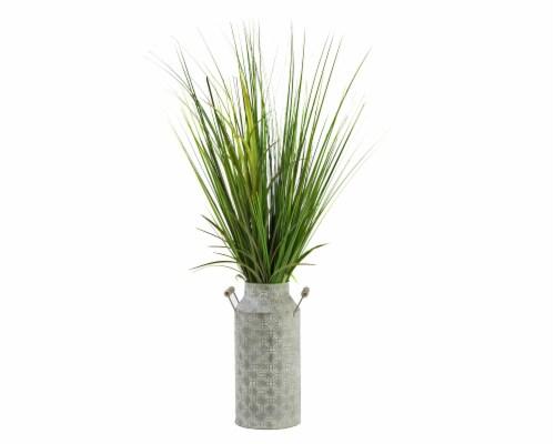Silkcraft Faux Grass in Galvanized Milk Jug Perspective: front