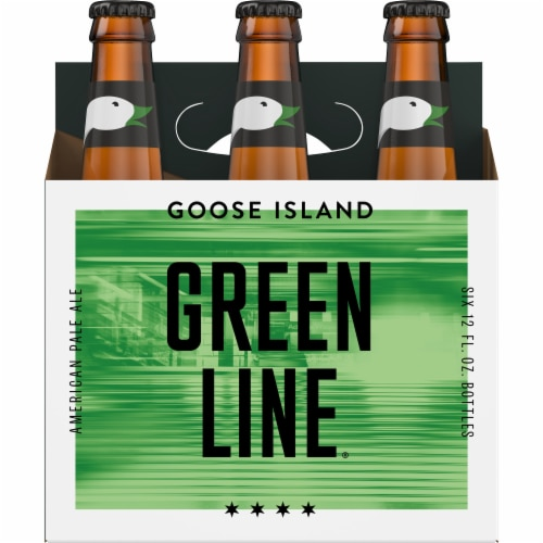 Goose Island Green Line Pale Ale Bottles Perspective: front