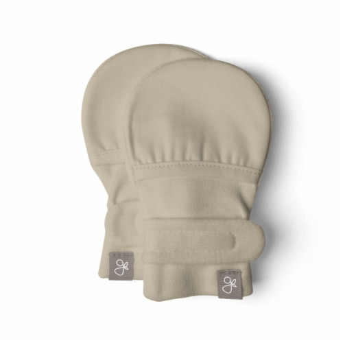 Goumikids Soft Organic Stay On No Scratch Baby Infant Hand Mittens, 3-6M Soybean Perspective: front