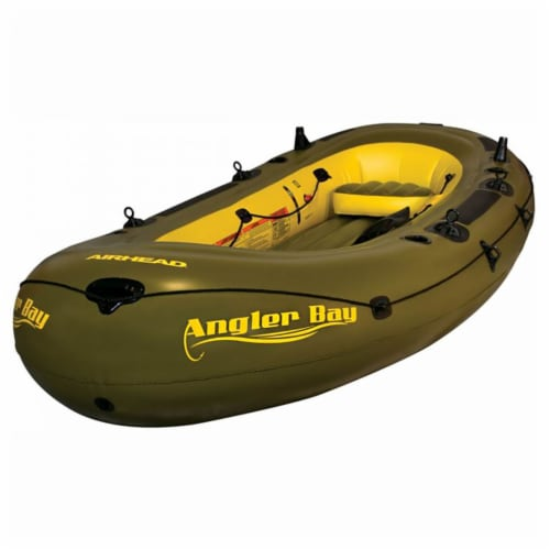 Airhead Angler Bay 6 Person Inflatable Fishing Boat Raft Float, Green Perspective: front